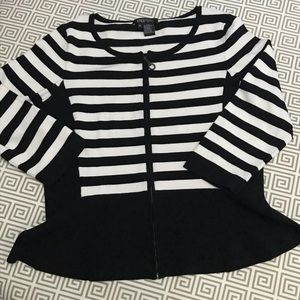 Etcetera Striped Peplum Cardigan